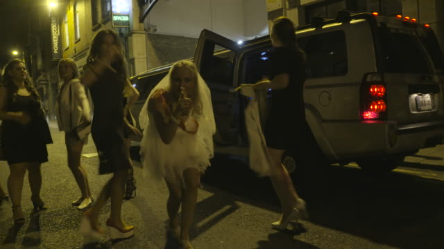 bachelorette party on the streets of dublin - bachelorette party stock videos and b-roll footage