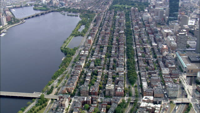 Back Bay  - Aerial View - Massachusetts,  Middlesex County,  United States video