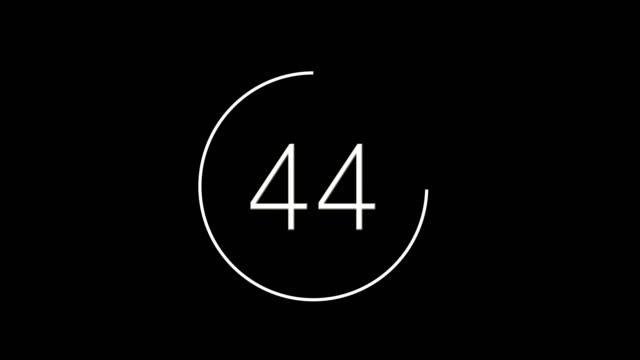 vídeos y material grabado en eventos de stock de cuenta atrás de 60 a 0, color blanco sobre un fondo negro - cuenta atrás