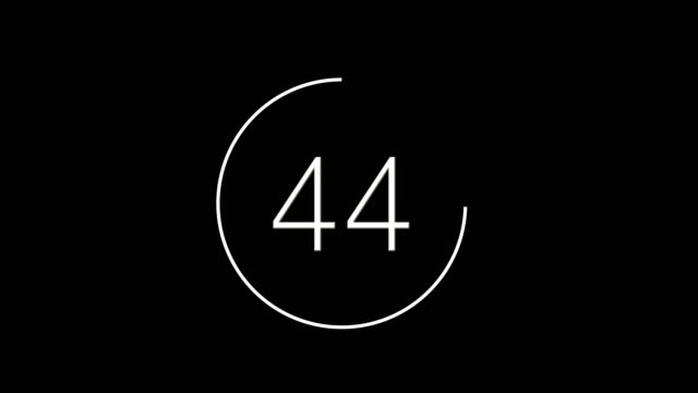 count back from 60 to 0, color white on a black background - conto alla rovescia video stock e b–roll