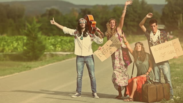 Back in 70s: hippies on the road hitchhiking video