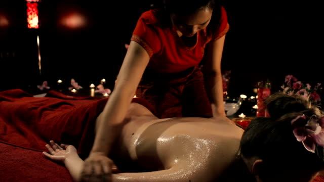 Back massage after it spilled oil. video