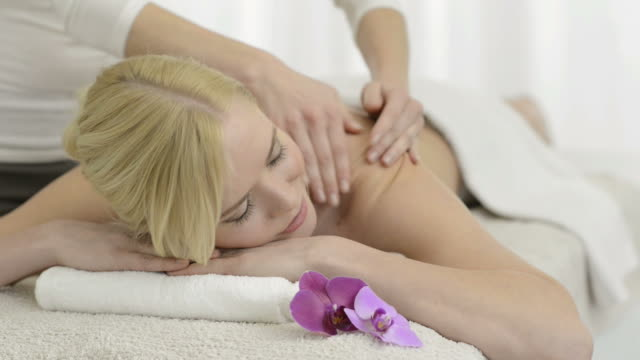 Back massage at spa video