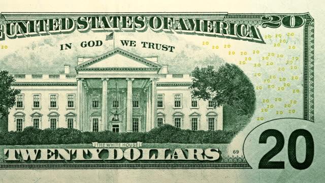 задняя сторона $20 доллар билл валюта соединенных штатов америки - white house стоковые видео и кадры b-roll