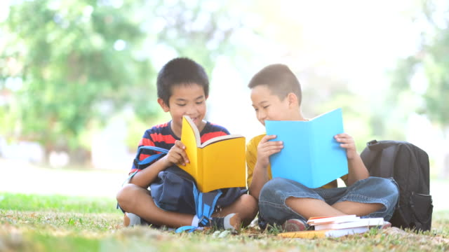 back to school and education concept. two boys of primary reading and doing homework together. - two students together asian video stock e b–roll