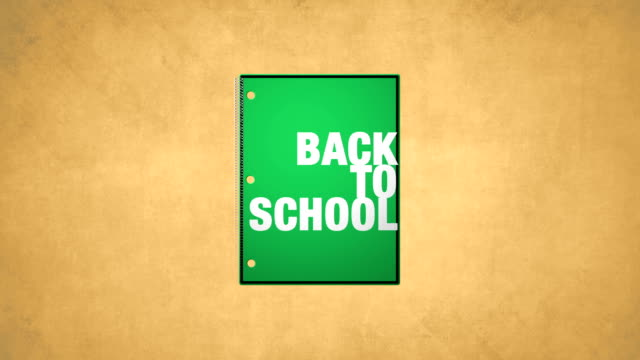 Back To School Green Notebook Animation HD video video