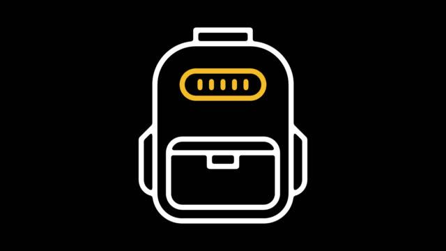 okul çizgi simgesine animasyon alpha ile başa - sırt çantası stok videoları ve detay görüntü çekimi