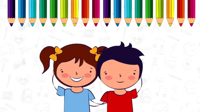 back to school little students couple characters video
