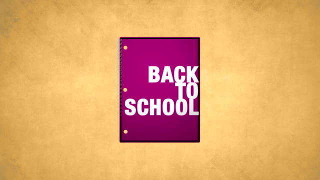 Back To School Pink Notebook Animation HD video video