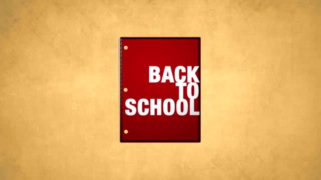 tillbaka till skolan red notebook animation hd-video - linjerat papper bakgrund bildbanksvideor och videomaterial från bakom kulisserna