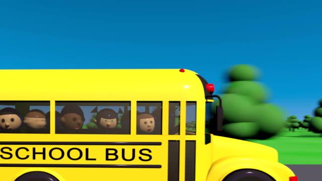 Back to school. School bus goes to school. Children look in the window of a school bus. video
