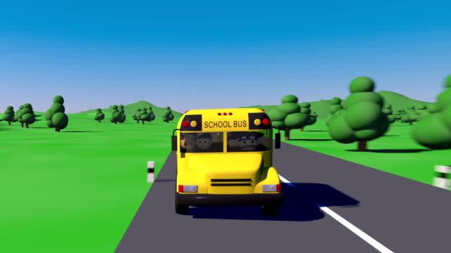 Back to school. School bus goes to school. The bus carries children to school. video