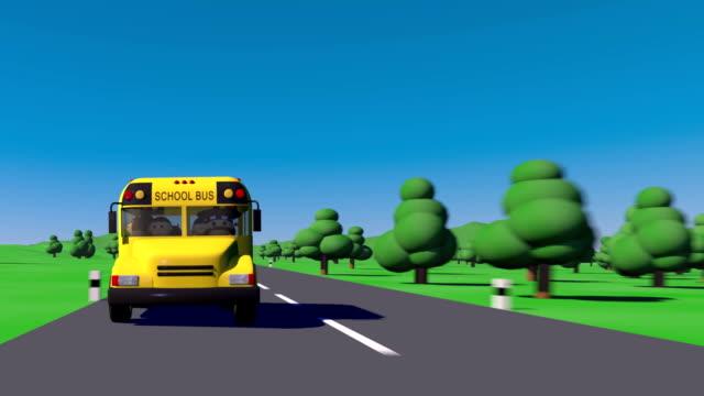 Regreso a la escuela. Autobús de la escuela va a la escuela. Los niños van a la escuela. - vídeo