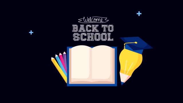 back to school season with book and set icons video
