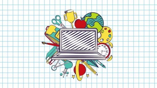 vidéos et rushes de animation vidéo de retour à l'école - fournitures scolaires