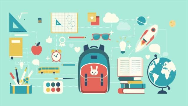 vidéos et rushes de retour à l'école - fournitures scolaires