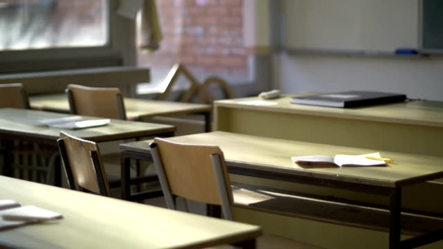 Back to school Back to school, Empty classroom school building stock videos & royalty-free footage