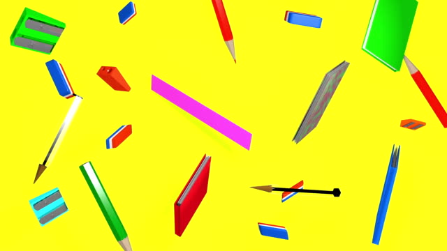 back to school yellow school equipment on yellow background school supplies stock videos & royalty-free footage
