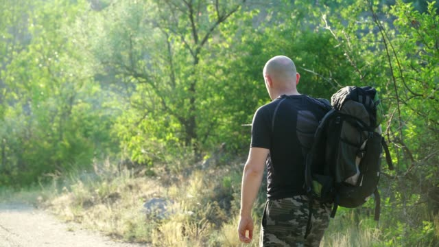 back view, in movement, a bald hiker man with a backpack on his shoulders walking on a path near the green trees. - viaggiare zaino in spalla video stock e b–roll