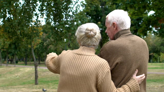 Back view mature couple planning building of country house, dreams, slow-motion Back view mature couple planning building of country house, dreams, slow-motion back to back stock videos & royalty-free footage