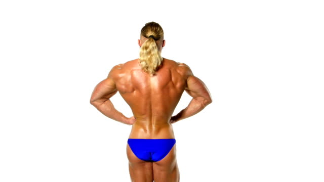 Back view of a body builder, isolated on white video