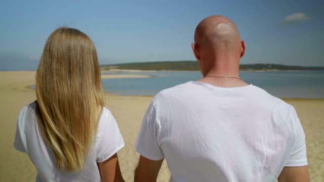 Back view of couple walking on beach together