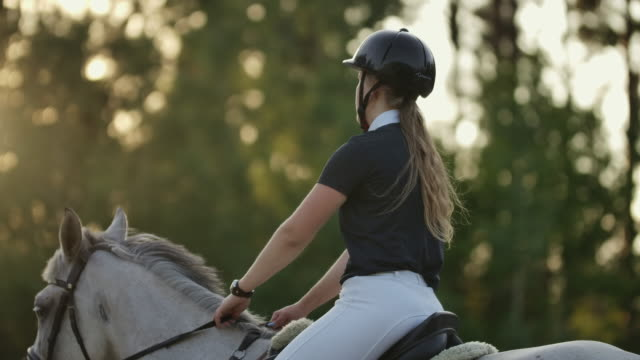 Back view of rider on a horse. Back view of a rider with a horse slow motion 120 fps