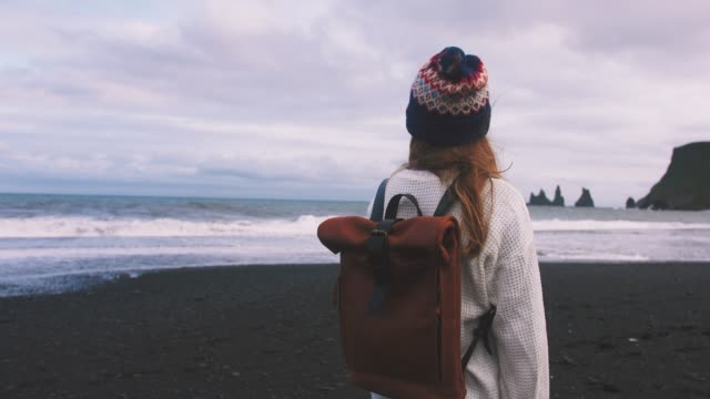back view of young attractive girl enjoing view of mountain landscape and ocean on the beach of vik, iceland - esploratore video stock e b–roll