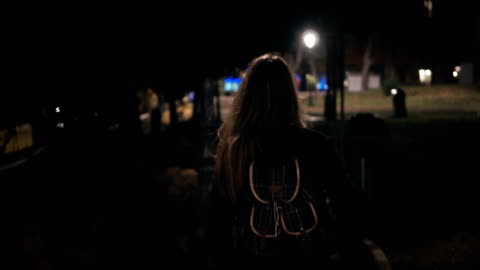 Back view of young stylish woman walking late at night through the dark park. going in the evening alone Back view of young stylish woman walking late at night through the dark park. going in the evening alone. Tourist female with backpack spending leisure time in lonely city. fear stock videos & royalty-free footage