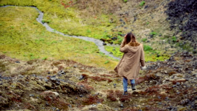 Back view of young traveling woman walks in mountain valley near river alone. Female exploring new place and thinking video