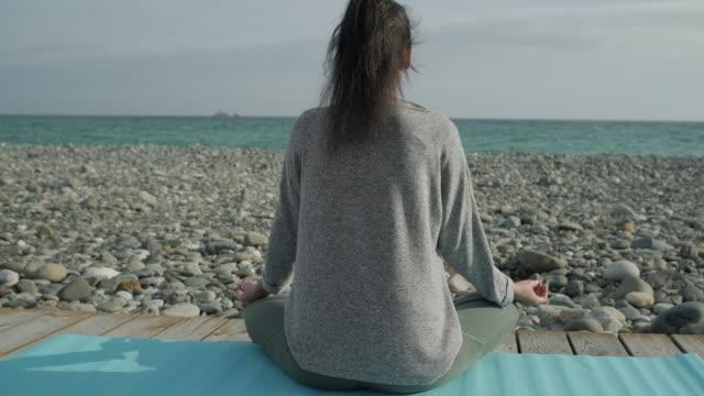 vidéos et rushes de vue arrière de la jeune femme méditant près du rivage de mer - admiration