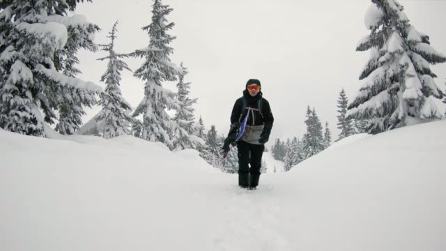 Backcountry Snowboarder Hiking Trail Snow Falling video