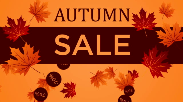 Background Autumn Sale with falling leaves video