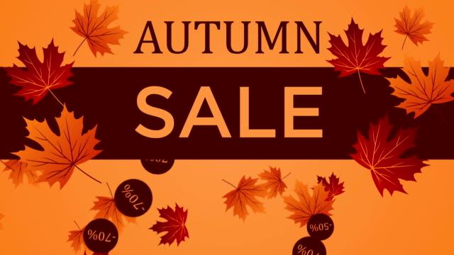 stockvideo's en b-roll-footage met achtergrond herfst sale met vallende bladeren - discountwinkel