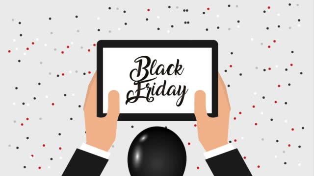 background balloons confetti hands with phone black friday announce black friday animation hd background balloons confetti hands with phone black friday announce animation hd announcement message stock videos & royalty-free footage