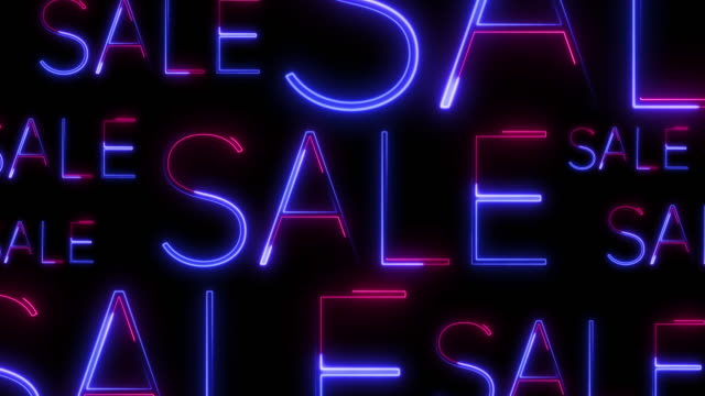 Background consisting of neon titles-sale for discount days and black Friday.