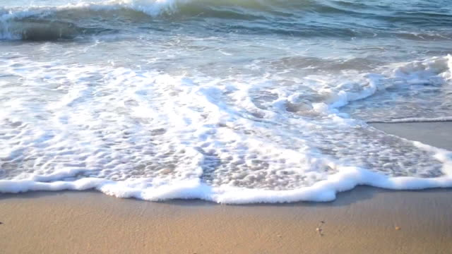 background empty the sand and the waves dashing on it background empty sand and incident on a wave, top view water's edge stock videos & royalty-free footage