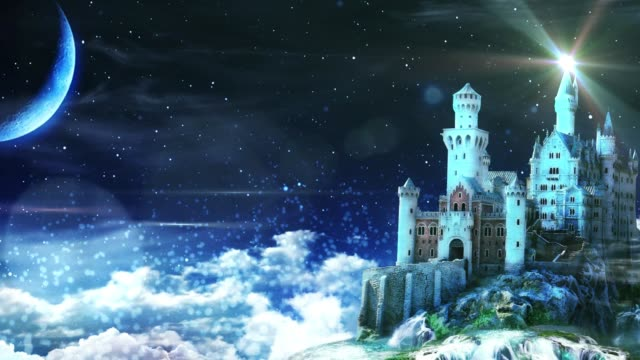Background magic castle blue particles clouds seamless loop