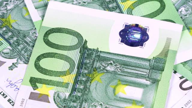 background of 100 euro banknotes - valuta dell'unione europea video stock e b–roll
