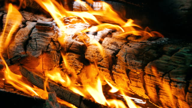 Background of a Fire, a Log Burns video