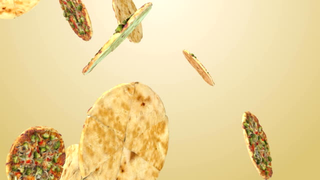 Background of flying pizza slices video