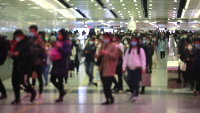 Video background of People wears mask under coronavirus outbreak.