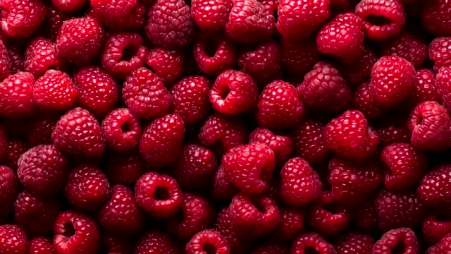 Background of ripe raspberries. Zoom out shot. 4K, UHD