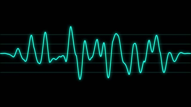 background with abstract animated sound graph. - frequenza video stock e b–roll