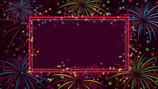 Background with fireworks and stars for congratulations on birthday Background with fireworks and stars for congratulations on birthday birthday background stock videos & royalty-free footage