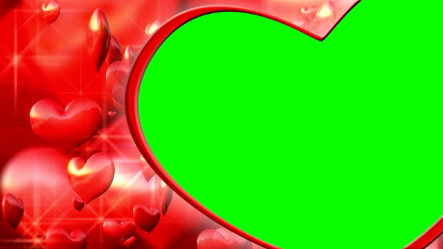 stockvideo's en b-roll-footage met background with flying hearts. chroma key for your video. - kaderrand