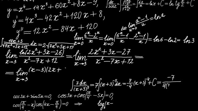 Background with math formulas. Math calculations or formulas appearing in chalk on black board, computer mathematics stock videos & royalty-free footage