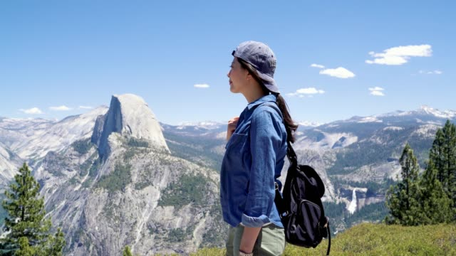 backpacker enjoy half dome trail view outdoor