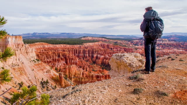 ws backpacker godendo la vista sul bryce canyon - parco nazionale video stock e b–roll