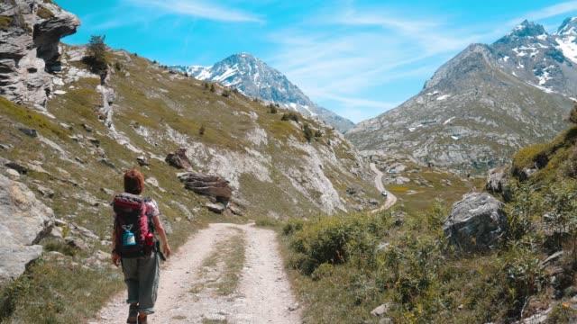 アルプスのトレッキング バックパッカー - 自然旅行点の映像素材/bロール